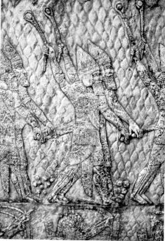Assyria - Assyrian Warriors with Slings Engraving