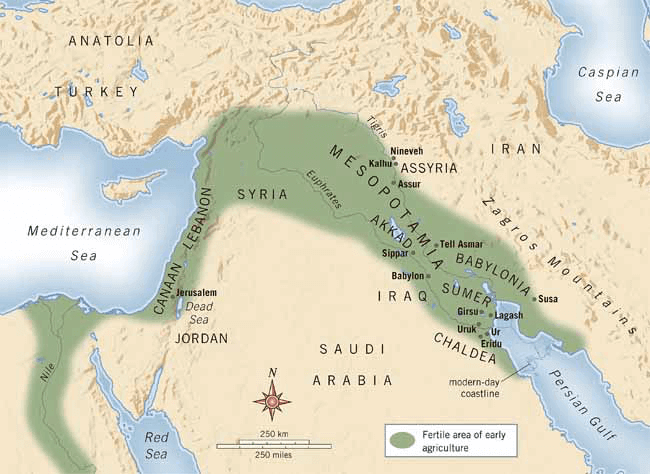 Mesopotamian Cities - Fertile Crescent Map