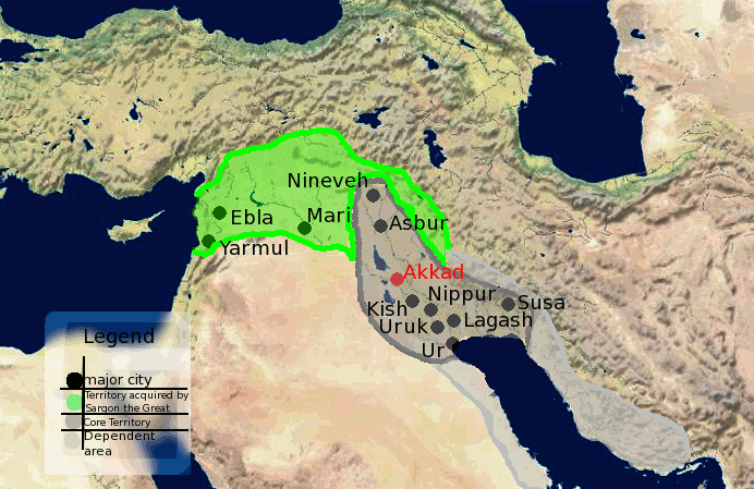 Sargon the Great - Akkadian Empire Territories Map