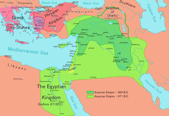 Assyria - Assyrian Territories Map