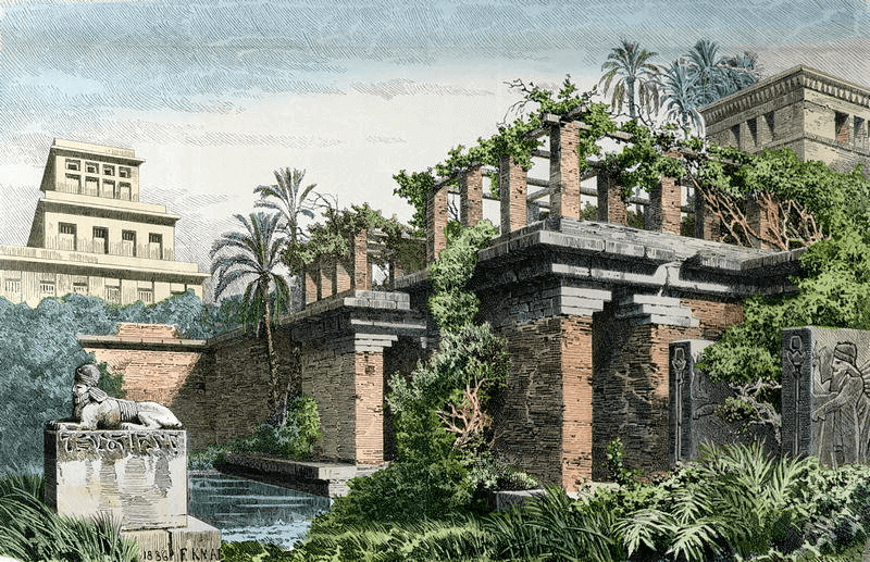 Babylonia - Hanging Gardens of Babylon (Ferdinand Knab 1886)